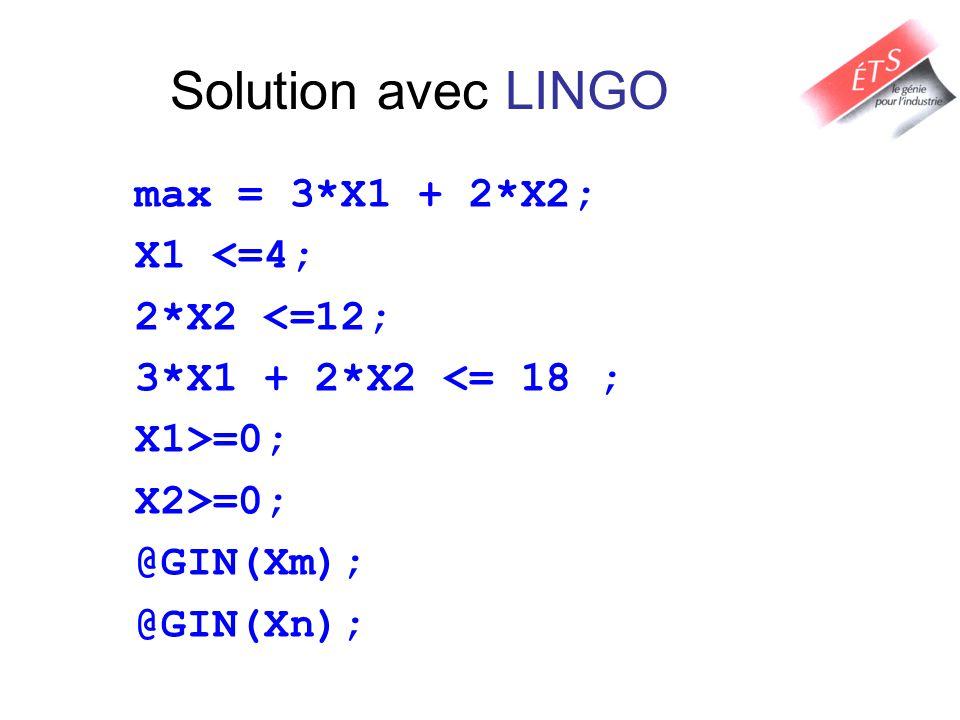 Solution avec LINGO max = 3*X1 + 2*X2; X1 <=4; 2*X2 <=12; 3*X1 + 2*X2 <= 18 ; X1>=0; X2>=0; @GIN(Xm); @GIN(Xn);