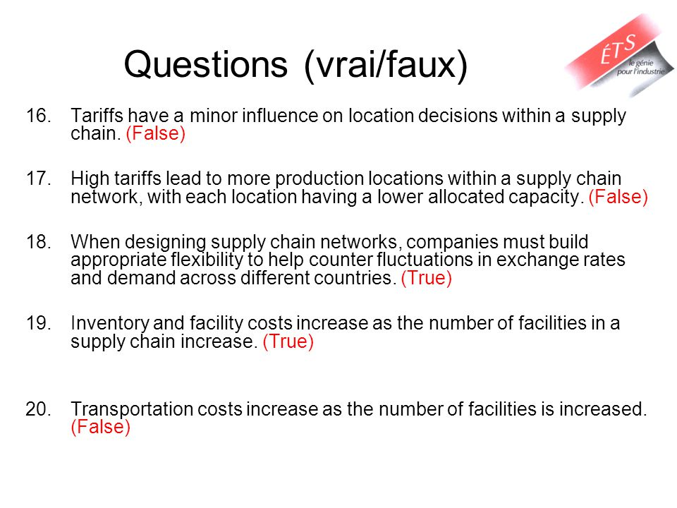 Questions (vrai/faux) 16.Tariffs have a minor influence on location decisions within a supply chain.