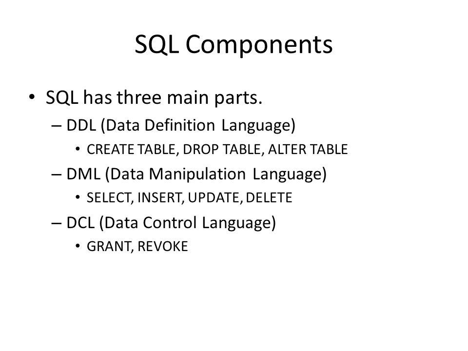 SQL Components SQL has three main parts.