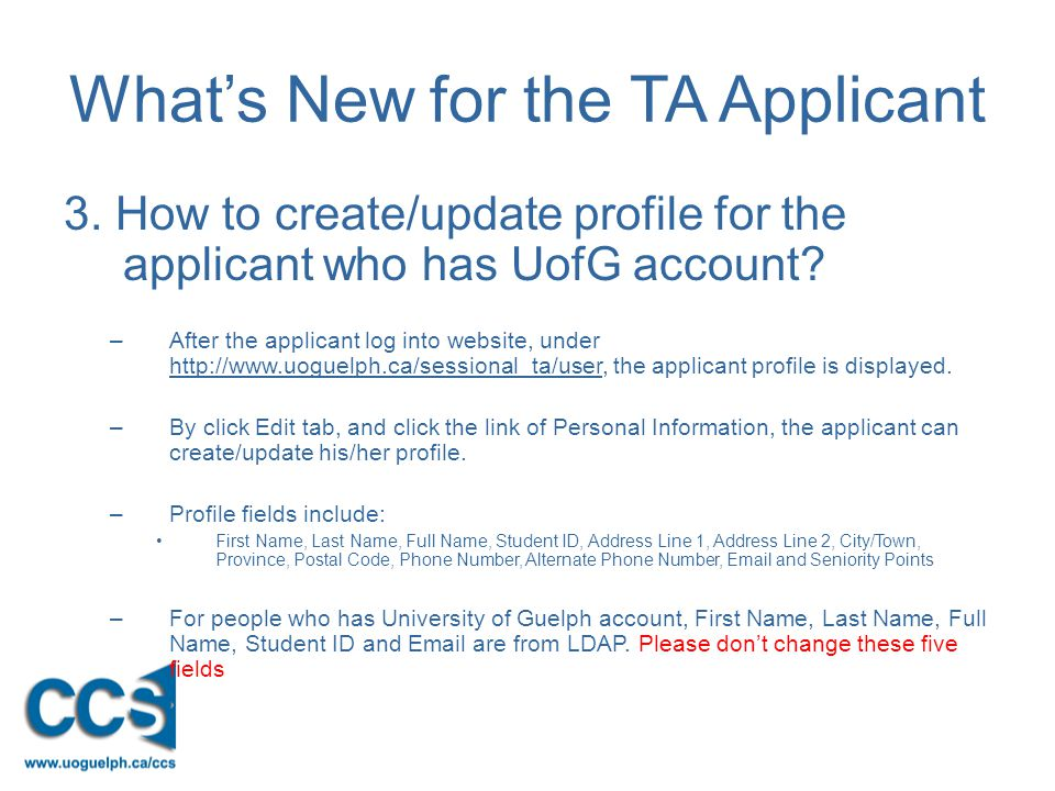 What's New for the TA Applicant 3.