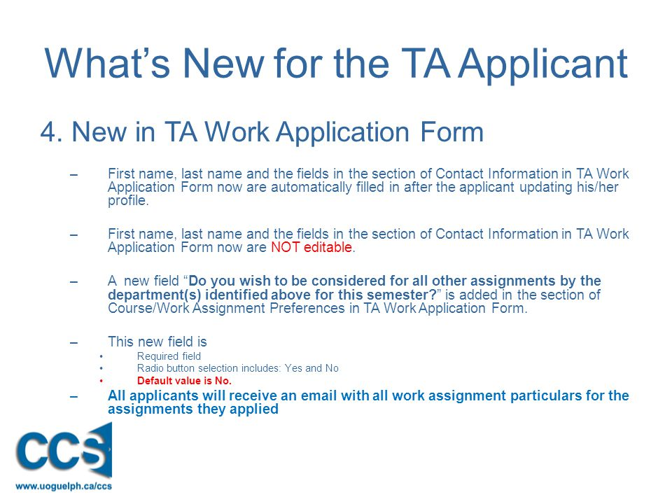 What's New for the TA Applicant 4.