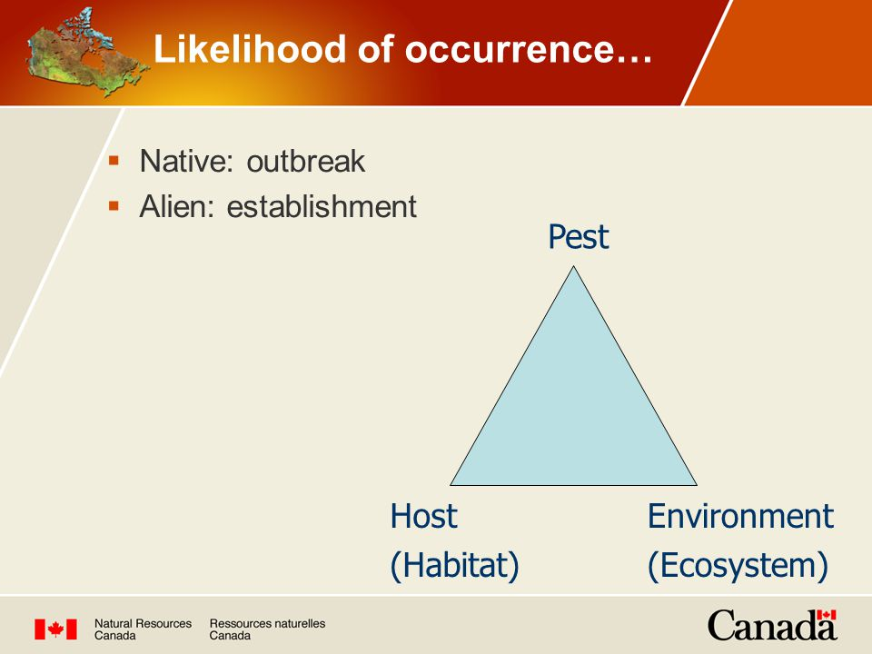 Likelihood of occurrence…  Native: outbreak  Alien: establishment Pest Host (Habitat) Environment (Ecosystem)