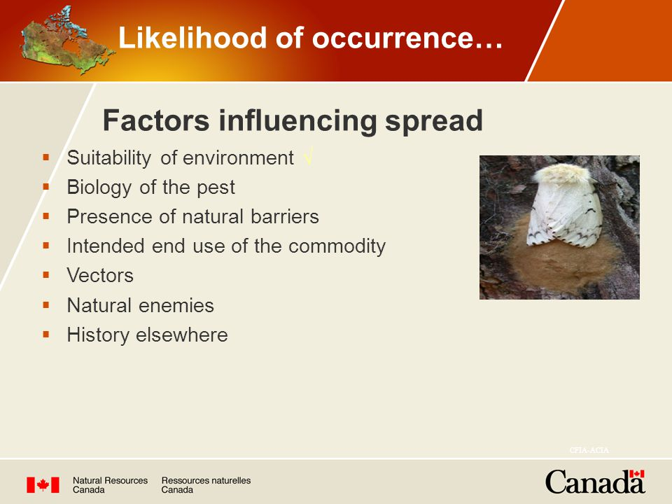  Suitability of environment √  Biology of the pest  Presence of natural barriers  Intended end use of the commodity  Vectors  Natural enemies  History elsewhere Factors influencing spread CFIA-ACIA Likelihood of occurrence…