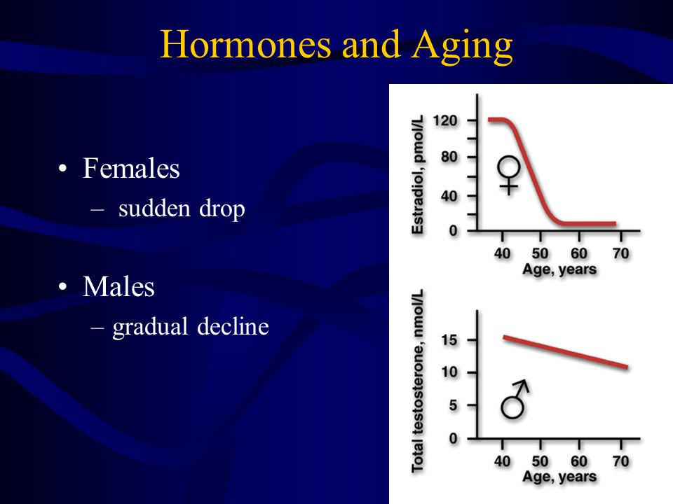 Hormones and Aging Females – sudden drop Males –gradual decline