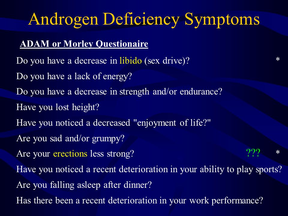 Androgen Deficiency Symptoms Do you have a decrease in libido (sex drive).