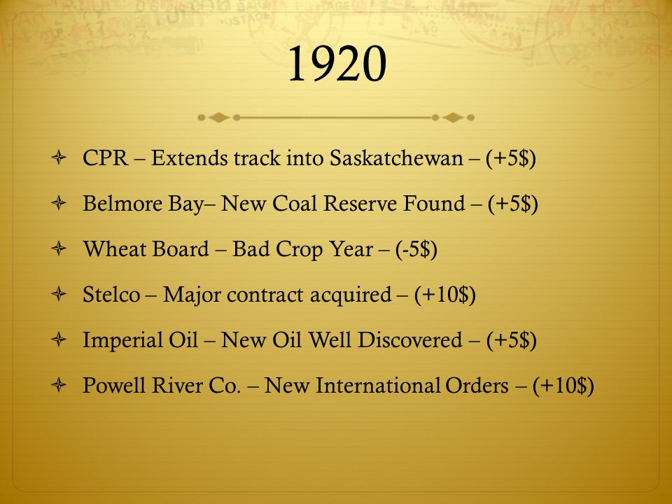 1920  CPR – Extends track into Saskatchewan – (+5$)  Belmore Bay– New Coal Reserve Found – (+5$)  Wheat Board – Bad Crop Year – (-5$)  Stelco – Major contract acquired – (+10$)  Imperial Oil – New Oil Well Discovered – (+5$)  Powell River Co.