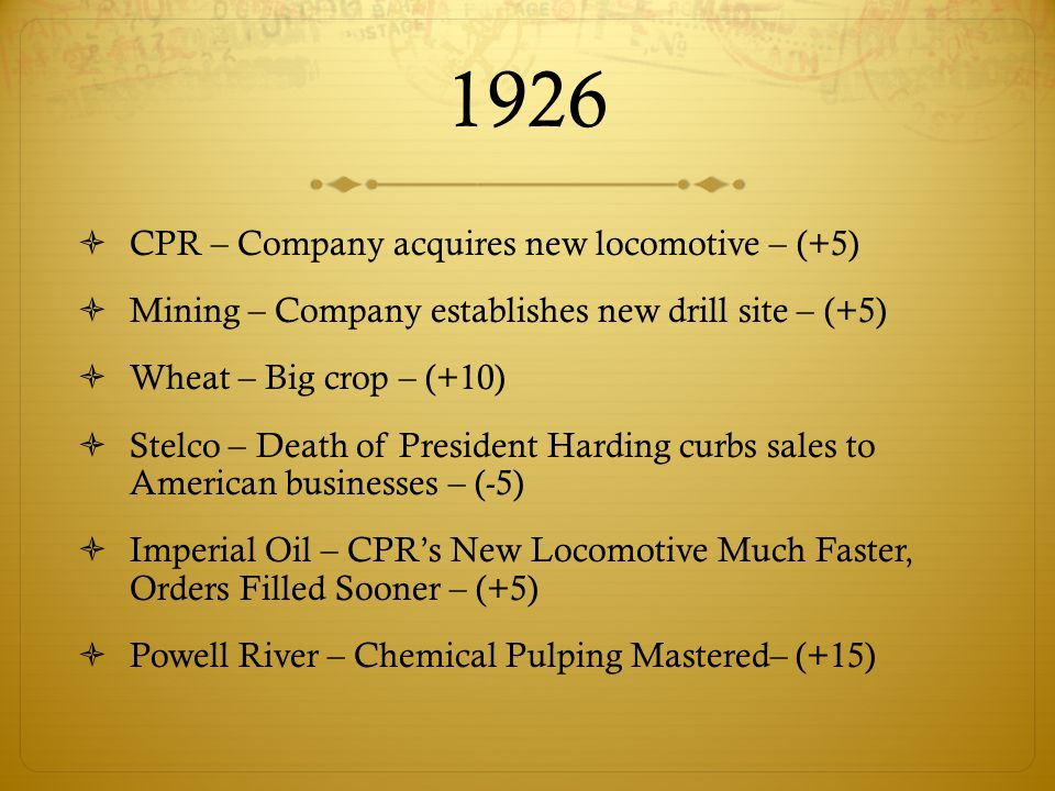 1926  CPR – Company acquires new locomotive – (+5)  Mining – Company establishes new drill site – (+5)  Wheat – Big crop – (+10)  Stelco – Death of President Harding curbs sales to American businesses – (-5)  Imperial Oil – CPR's New Locomotive Much Faster, Orders Filled Sooner – (+5)  Powell River – Chemical Pulping Mastered– (+15)