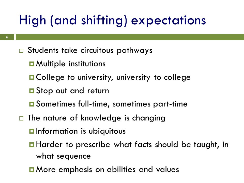 High (and shifting) expectations 6  Students take circuitous pathways  Multiple institutions  College to university, university to college  Stop out and return  Sometimes full-time, sometimes part-time  The nature of knowledge is changing  Information is ubiquitous  Harder to prescribe what facts should be taught, in what sequence  More emphasis on abilities and values