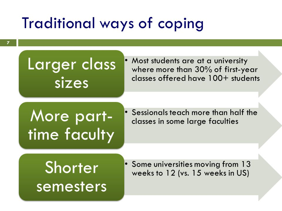 Traditional ways of coping 7 Most students are at a university where more than 30% of first-year classes offered have 100+ students Larger class sizes