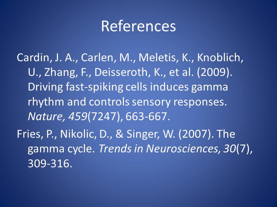 References Cardin, J. A., Carlen, M., Meletis, K., Knoblich, U., Zhang, F., Deisseroth, K., et al.