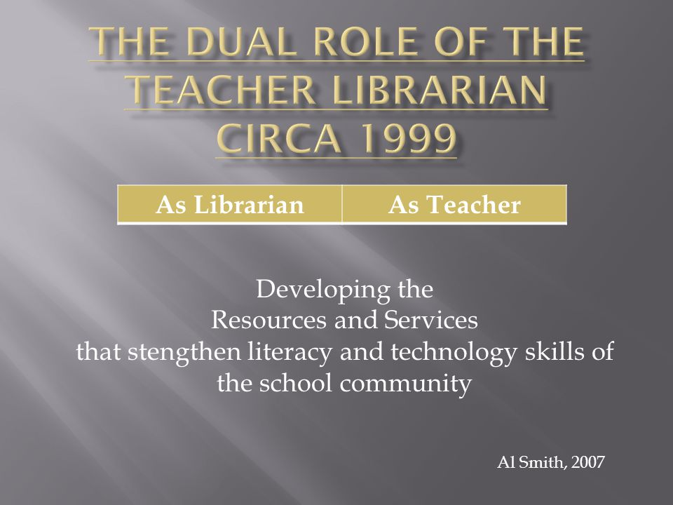 As LibrarianAs Teacher Collection DevelopmentResearch Skills + -Assessment of total collection- determine immediate and long term objectives Introduction of process at Elem.