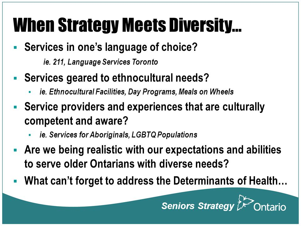 When Strategy Meets Diversity…  Services in one's language of choice.