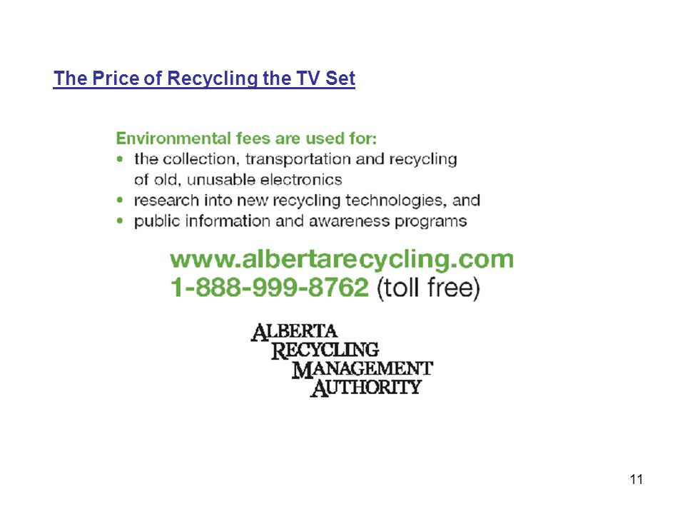 11 The Price of Recycling the TV Set