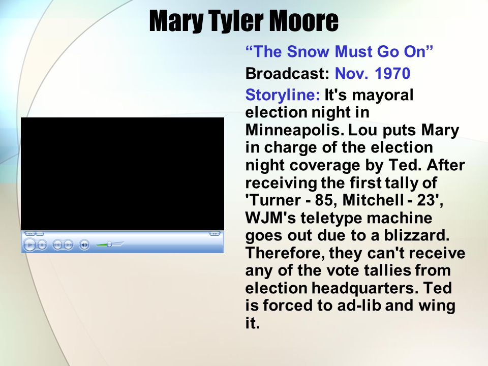 """Mary Tyler Moore """"The Snow Must Go On"""" Broadcast: Nov. 1970 Storyline: It's mayoral election night in Minneapolis. Lou puts Mary in charge of the elec"""