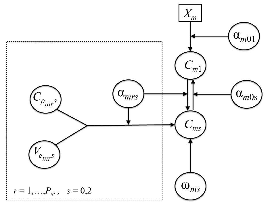 C ms C p mr s V e mr s α mrs ω ms r = 1,…,P m, s = 0,2 Cm1Cm1 XmXm α m01 α m0s