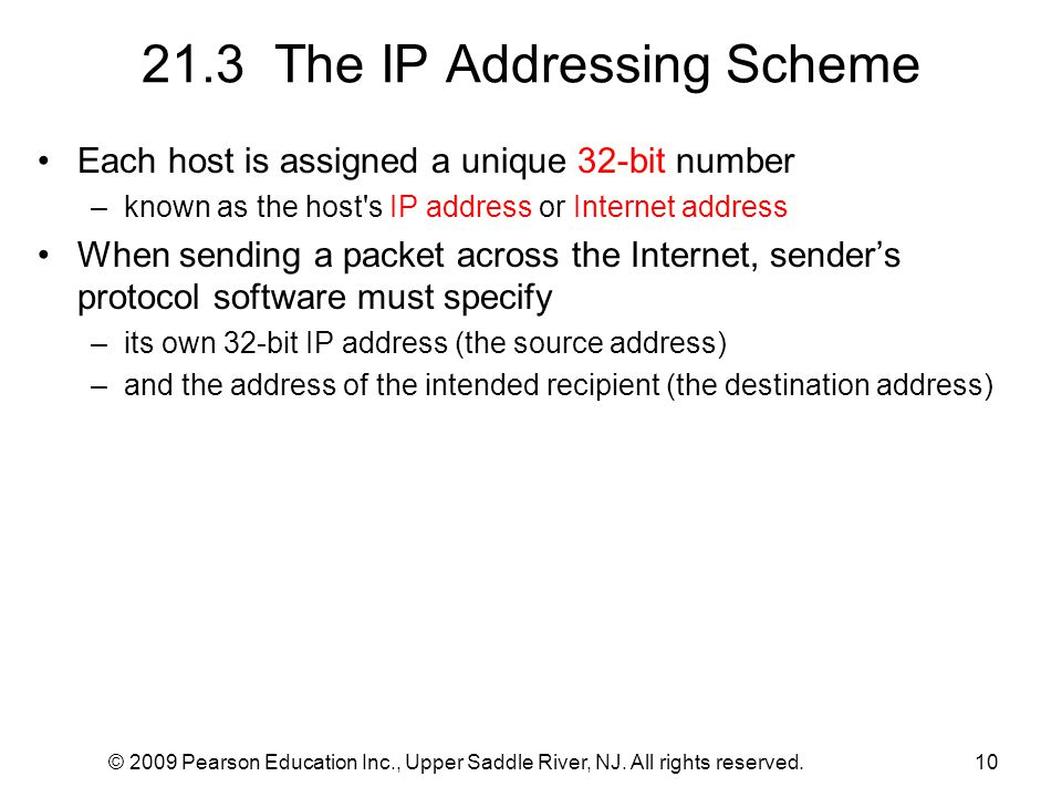 © 2009 Pearson Education Inc., Upper Saddle River, NJ. All rights reserved.10 21.3 The IP Addressing Scheme Each host is assigned a unique 32-bit numb