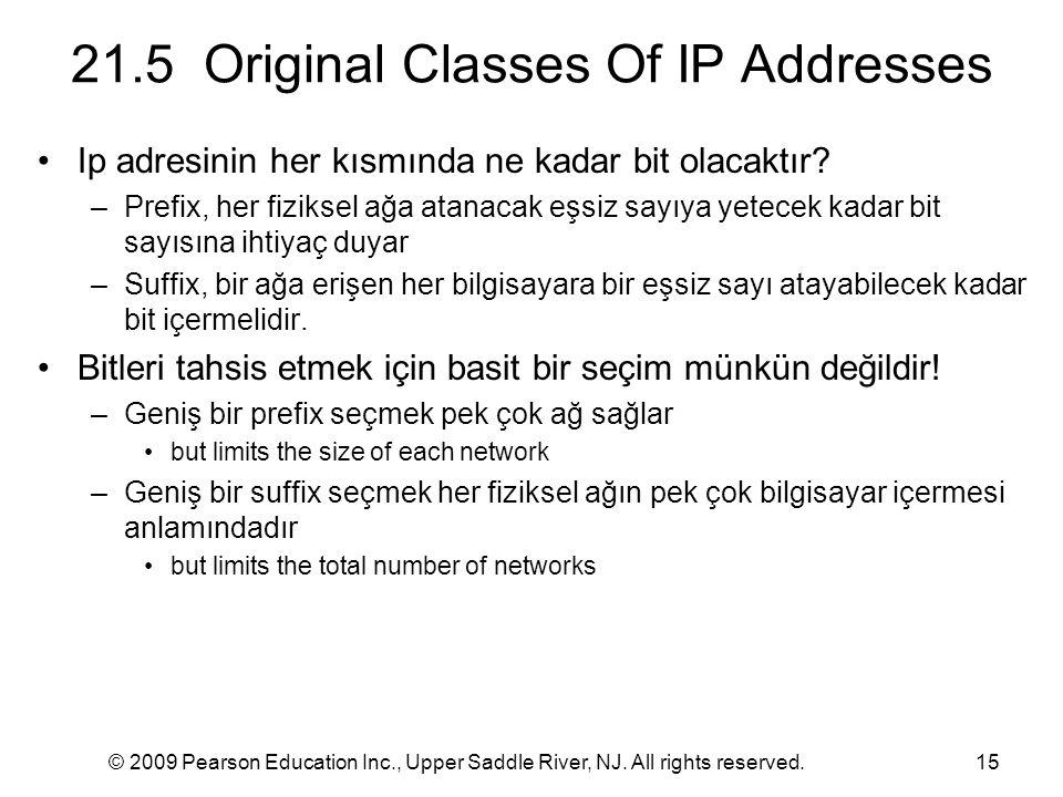 © 2009 Pearson Education Inc., Upper Saddle River, NJ. All rights reserved.15 21.5 Original Classes Of IP Addresses Ip adresinin her kısmında ne kadar