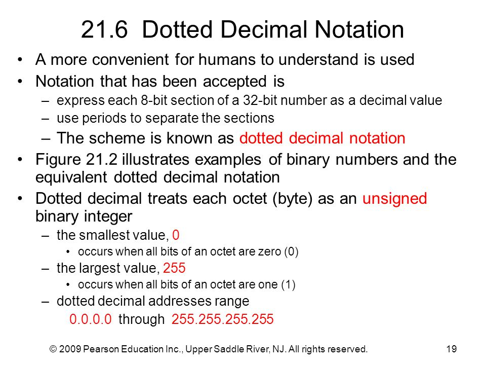 © 2009 Pearson Education Inc., Upper Saddle River, NJ. All rights reserved.19 21.6 Dotted Decimal Notation A more convenient for humans to understand