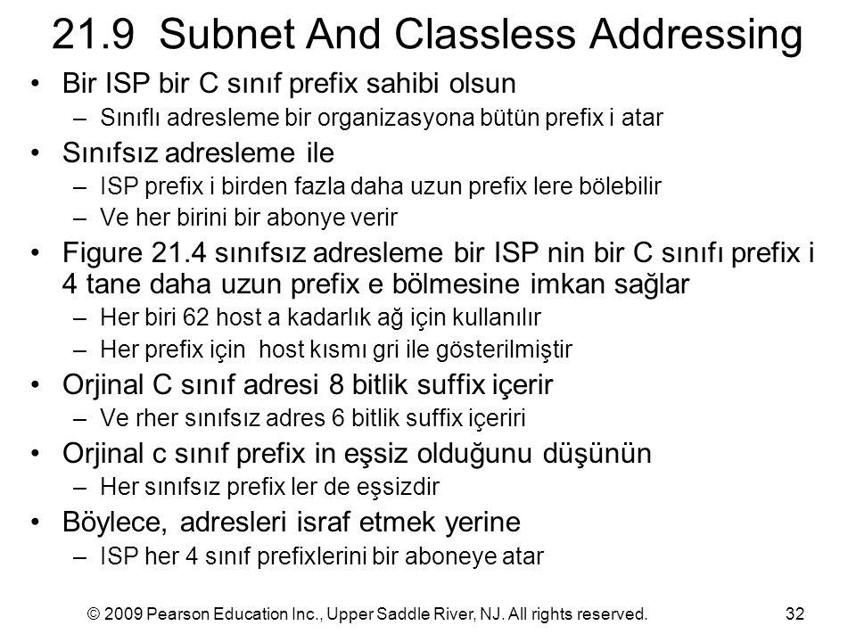 © 2009 Pearson Education Inc., Upper Saddle River, NJ. All rights reserved.32 21.9 Subnet And Classless Addressing Bir ISP bir C sınıf prefix sahibi o