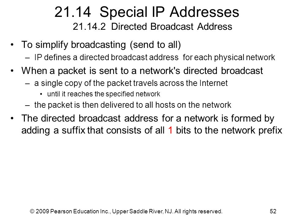 © 2009 Pearson Education Inc., Upper Saddle River, NJ. All rights reserved.52 21.14 Special IP Addresses 21.14.2 Directed Broadcast Address To simplif