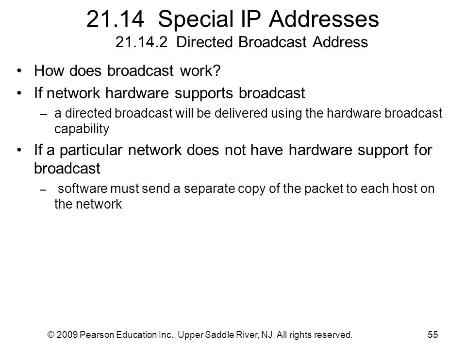 © 2009 Pearson Education Inc., Upper Saddle River, NJ. All rights reserved.55 21.14 Special IP Addresses 21.14.2 Directed Broadcast Address How does b