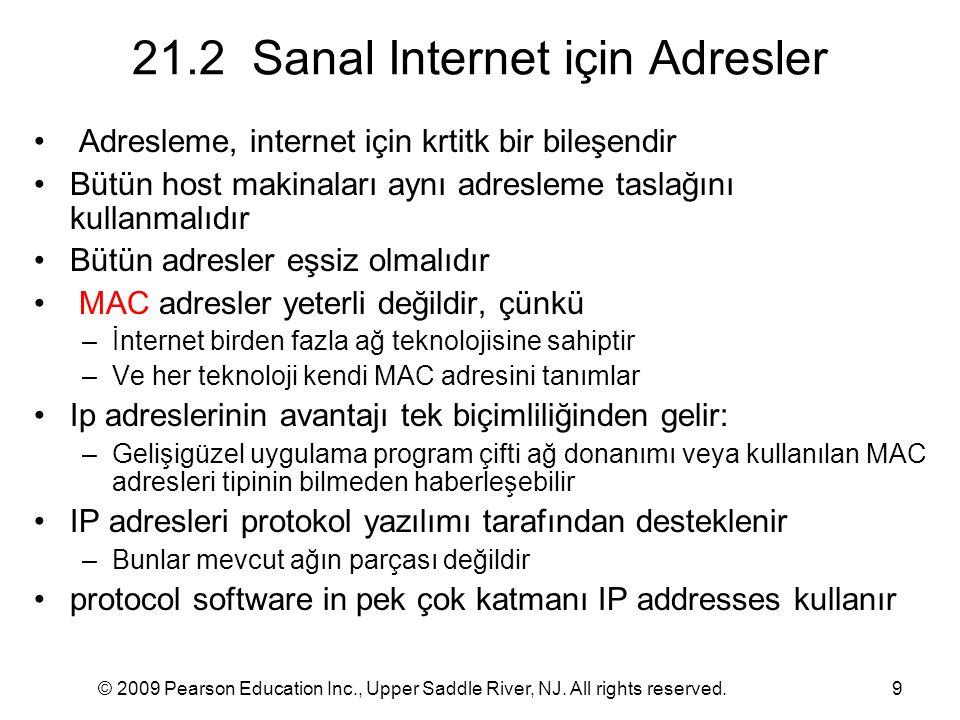 © 2009 Pearson Education Inc., Upper Saddle River, NJ. All rights reserved.9 21.2 Sanal Internet için Adresler Adresleme, internet için krtitk bir bil