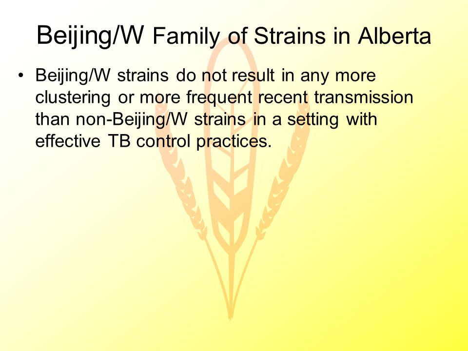 Beijing/W Family of Strains in Alberta Beijing/W strains do not result in any more clustering or more frequent recent transmission than non-Beijing/W strains in a setting with effective TB control practices.