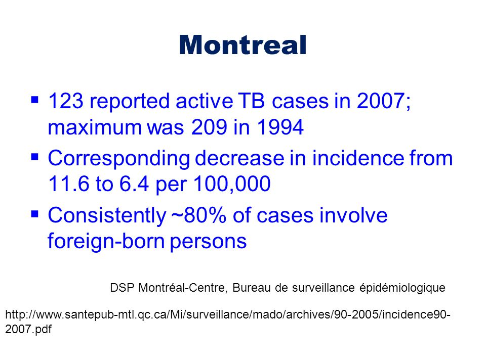 Montreal  123 reported active TB cases in 2007; maximum was 209 in 1994  Corresponding decrease in incidence from 11.6 to 6.4 per 100,000  Consiste