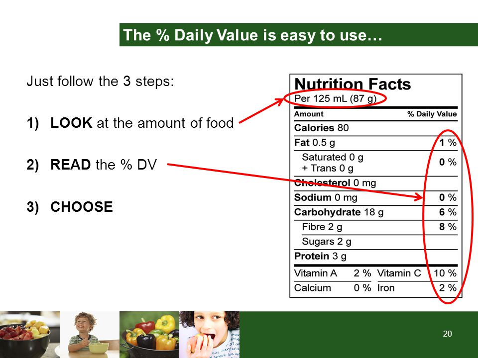 20 Just follow the 3 steps: 1)LOOK at the amount of food 2)READ the % DV 3)CHOOSE The % Daily Value is easy to use…