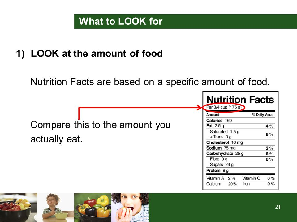 21 What to LOOK for 1)LOOK at the amount of food Nutrition Facts are based on a specific amount of food. Compare this to the amount you actually eat.