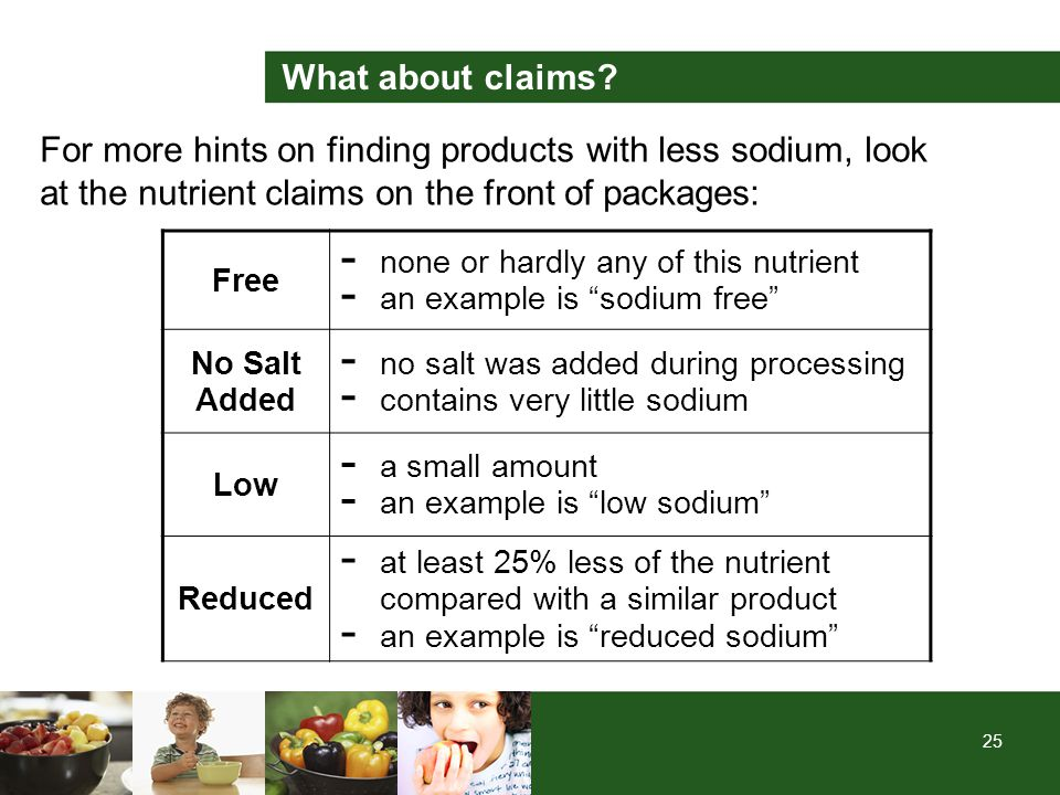 25 For more hints on finding products with less sodium, look at the nutrient claims on the front of packages: Free - none or hardly any of this nutrie