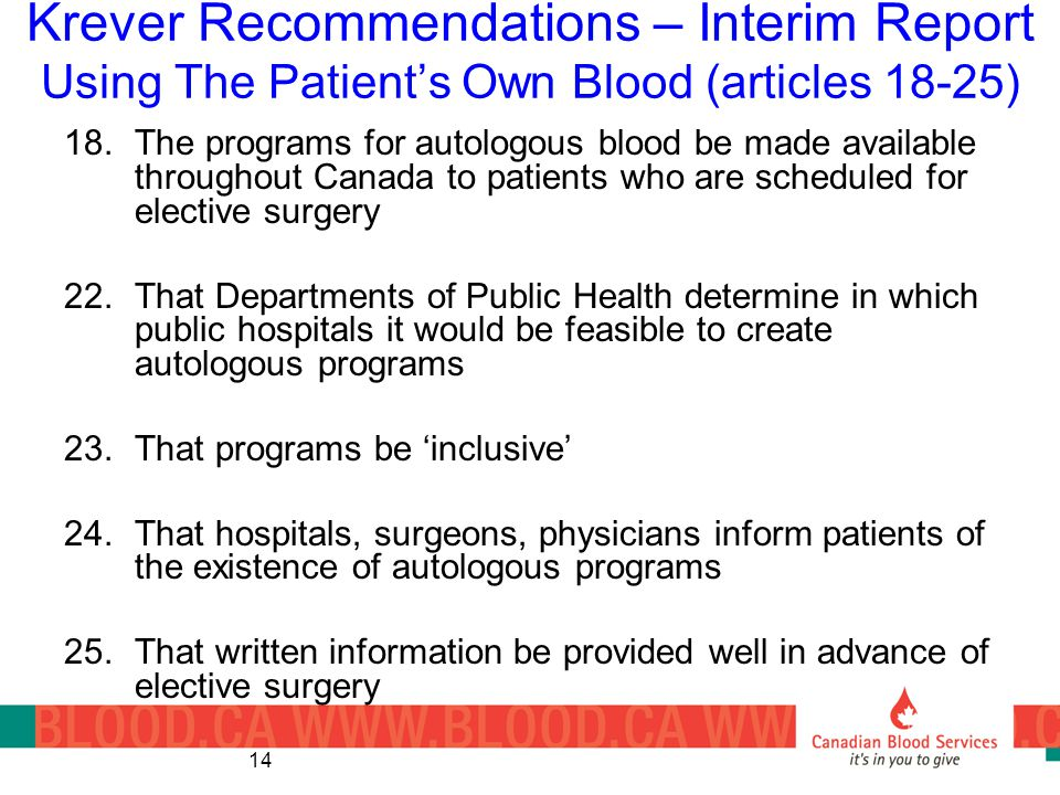 14 Krever Recommendations – Interim Report Using The Patient's Own Blood (articles 18-25) 18.The programs for autologous blood be made available throu
