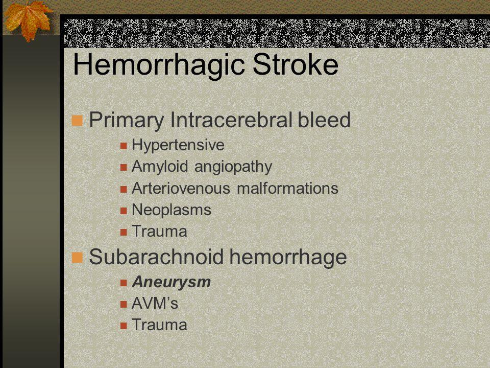 Hemorrhagic Stroke Primary Intracerebral bleed Hypertensive Amyloid angiopathy Arteriovenous malformations Neoplasms Trauma Subarachnoid hemorrhage An