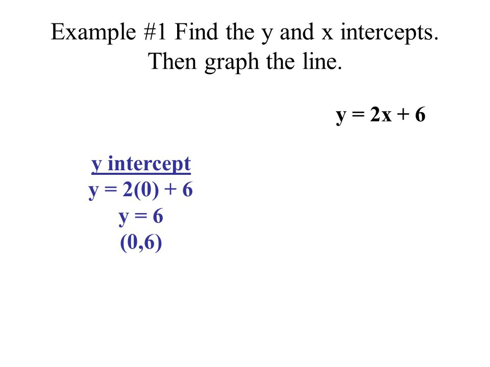 Example #1 Find the y and x intercepts.Then graph the line.