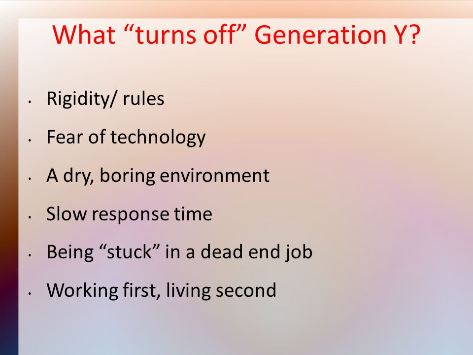 What turns off Generation Y.