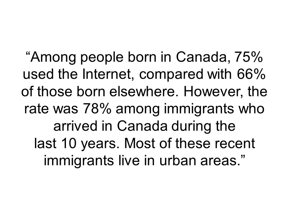Among people born in Canada, 75% used the Internet, compared with 66% of those born elsewhere.