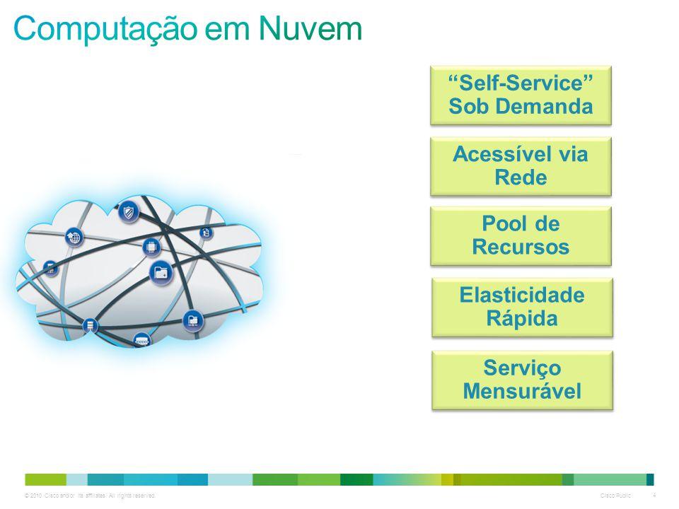 """© 2010 Cisco and/or its affiliates. All rights reserved. Cisco Public 4 """"Self-Service"""" Sob Demanda Acessível via Rede Pool de Recursos Elasticidade Rá"""