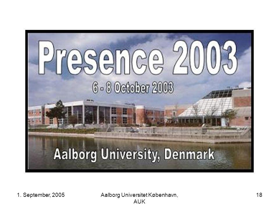 1. September, 2005Aalborg Universitet København, AUK 18