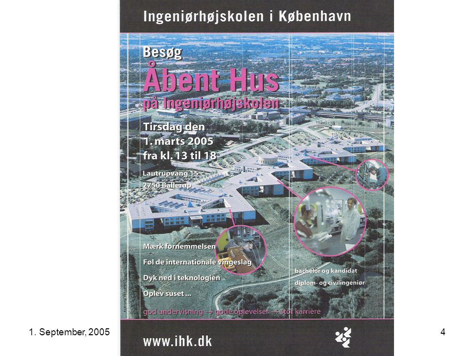 1.September, 2005Aalborg Universitet København, AUK 15 AUK / IMI Inauguration Today Program Kl.