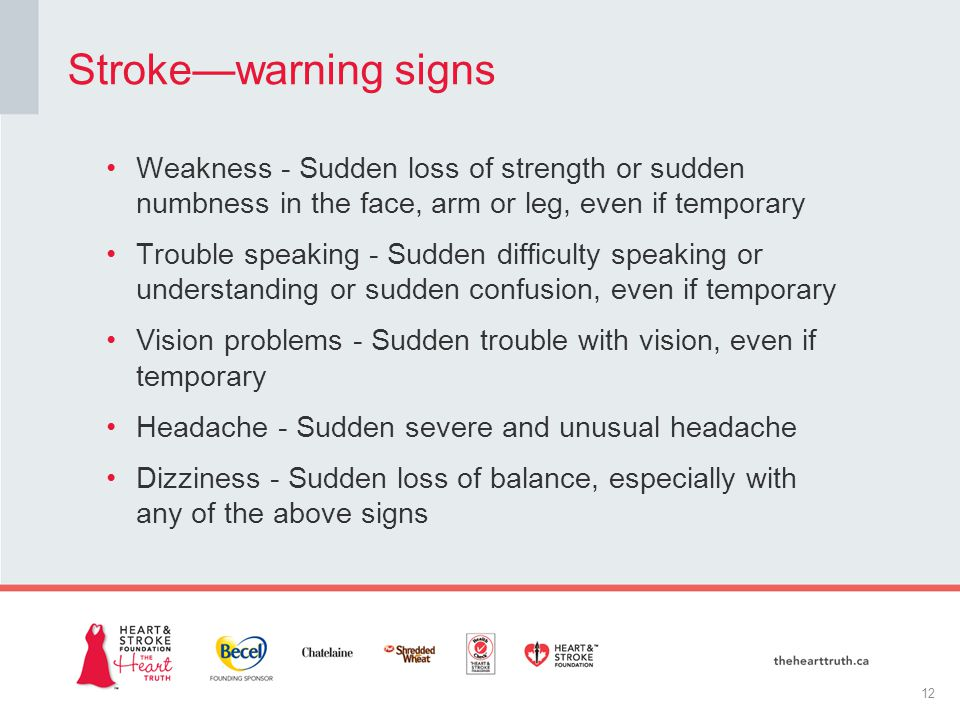 Weakness - Sudden loss of strength or sudden numbness in the face, arm or leg, even if temporary Trouble speaking - Sudden difficulty speaking or understanding or sudden confusion, even if temporary Vision problems - Sudden trouble with vision, even if temporary Headache - Sudden severe and unusual headache Dizziness - Sudden loss of balance, especially with any of the above signs Stroke—warning signs 12