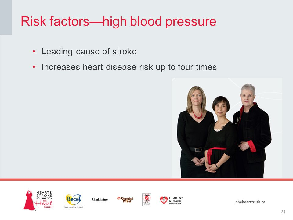 Leading cause of stroke Increases heart disease risk up to four times Risk factors—high blood pressure 21