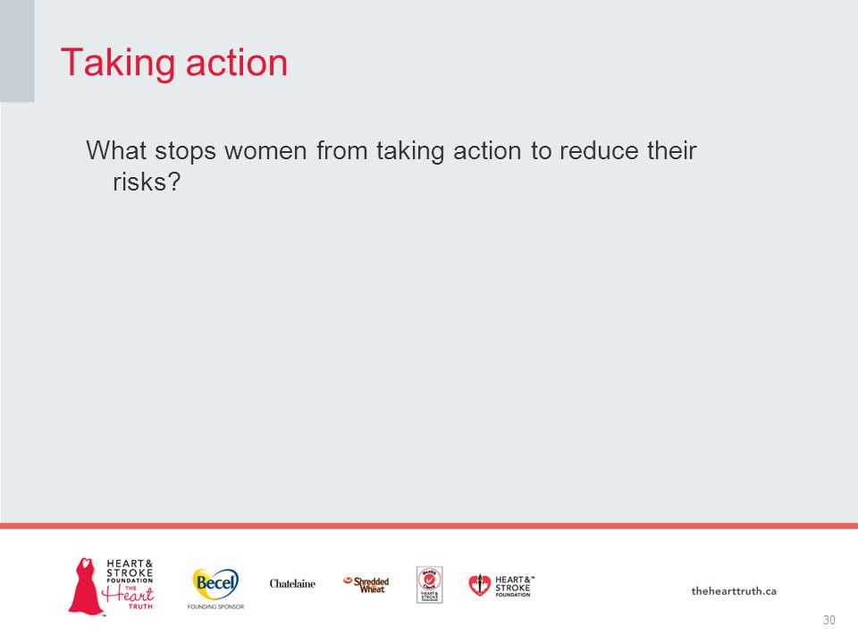 What stops women from taking action to reduce their risks Taking action 30