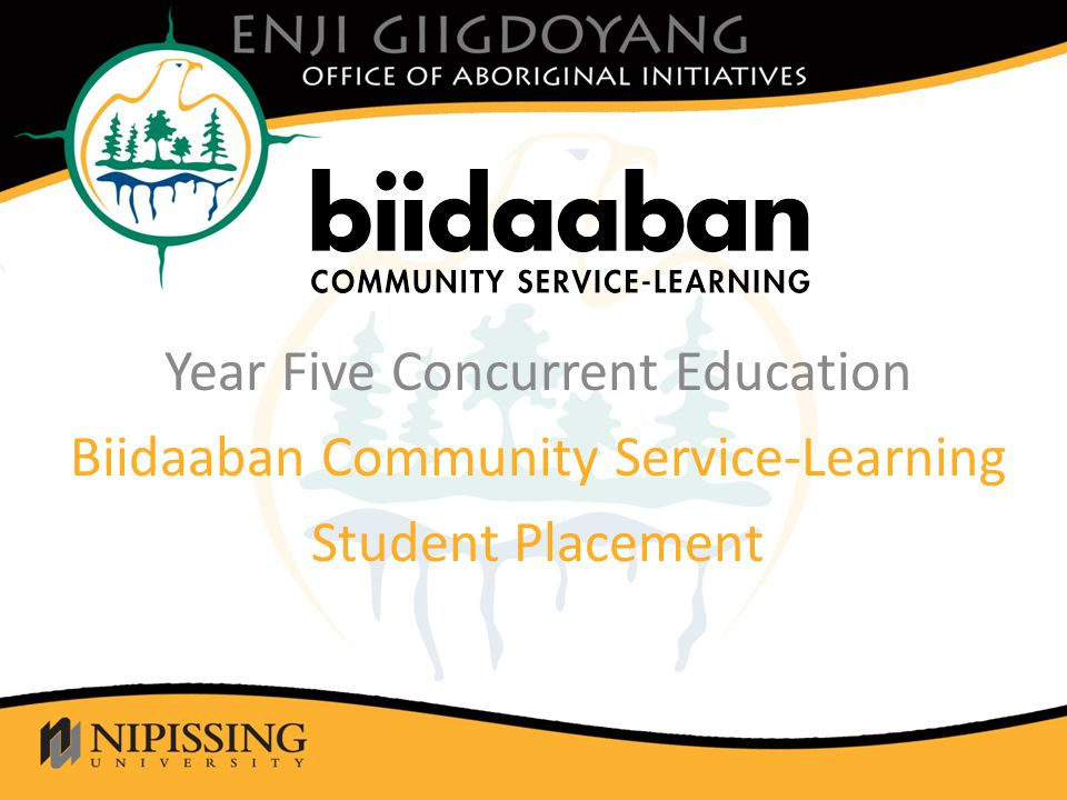 Click to edit Master title style Year Five Concurrent Education Biidaaban Community Service-Learning Student Placement