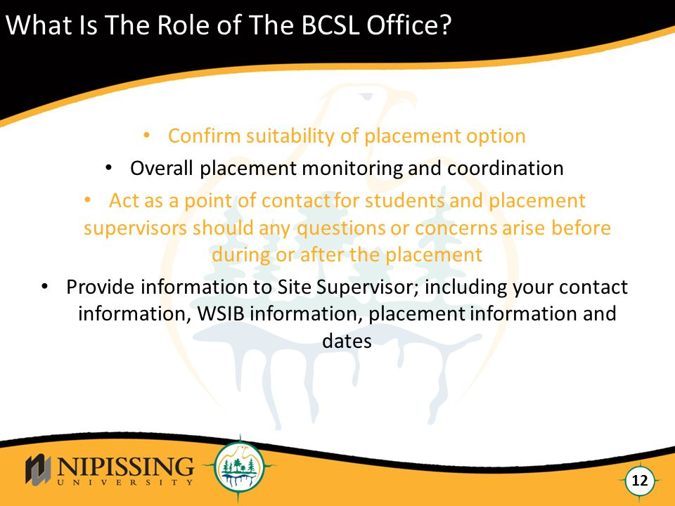 Click to edit Master title style 12 What Is The Role of The BCSL Office.