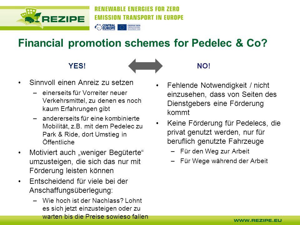 Financial promotion schemes for Pedelec & Co.