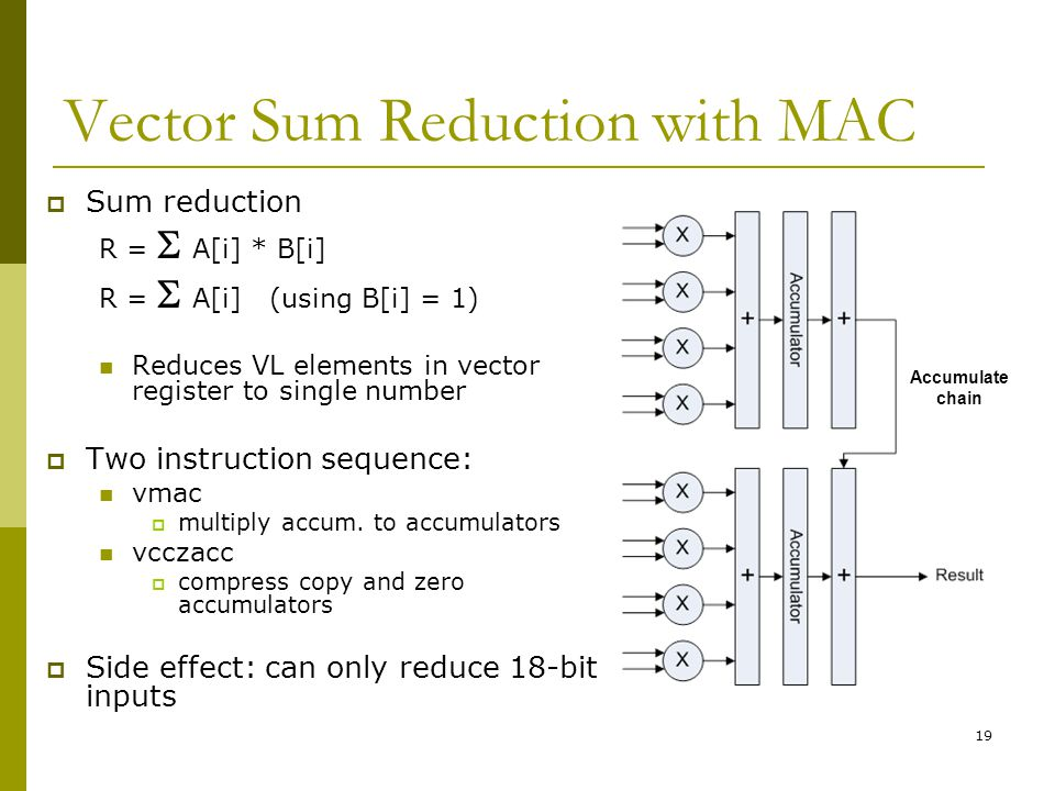 19 Vector Sum Reduction with MAC  Sum reduction R =  A[i] * B[i] R =  A[i] (using B[i] = 1) Reduces VL elements in vector register to single number  Two instruction sequence: vmac  multiply accum.