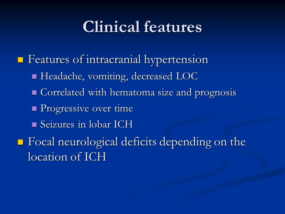 Rationale for ICP monitoring Development of pressure gradient and brain herniation Development of pressure gradient and brain herniation Help guide blood pressure management Help guide blood pressure management Goals of treatment Goals of treatment ICP should be maintained < 20 mmHg ICP should be maintained < 20 mmHg CPP should be maintained between 60-70 mmHg CPP should be maintained between 60-70 mmHg