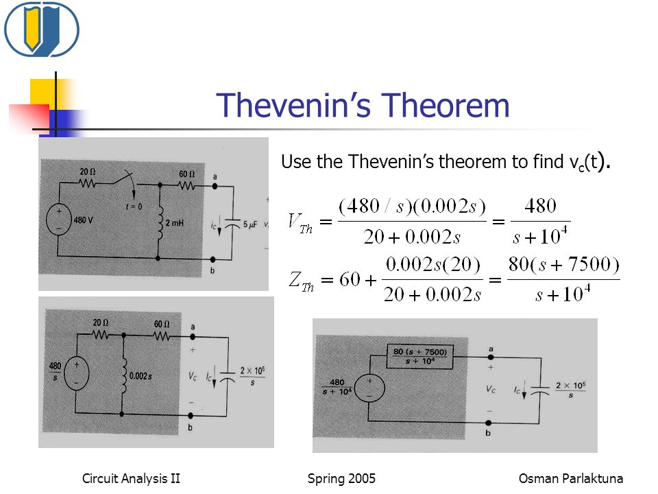 Thevenin's Theorem Use the Thevenin's theorem to find v c (t ).