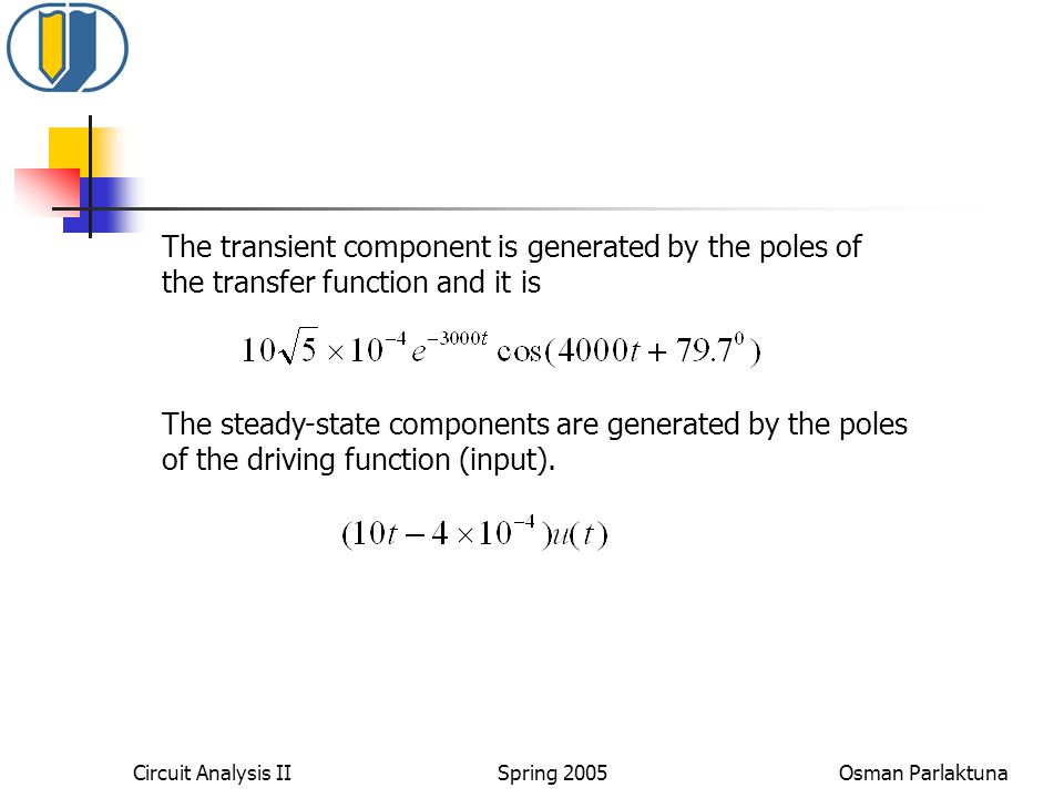 Circuit Analysis II Spring 2005 Osman Parlaktuna The transient component is generated by the poles of the transfer function and it is The steady-state