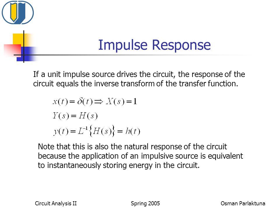 Circuit Analysis II Spring 2005 Osman Parlaktuna Impulse Response If a unit impulse source drives the circuit, the response of the circuit equals the